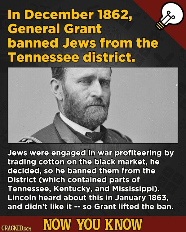 In December 1862, General Grant banned Jews from the Tennessee district. Jews were engaged in war profiteering by trading cotton on the black market,