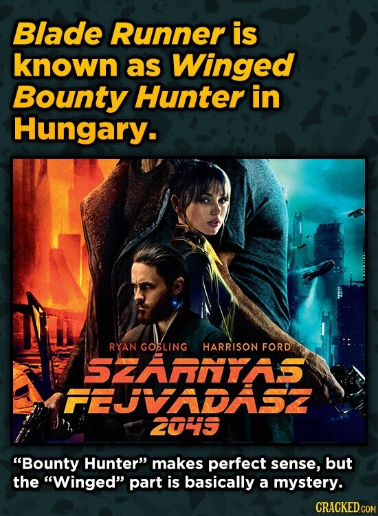 Blade Runner is known as Winged Bounty Hunter in Hungary. RYAN GOBLING HARRISON FORD SZARNYAS FEVADASZ 2OS Bounty Hunter makes perfect sense, but th