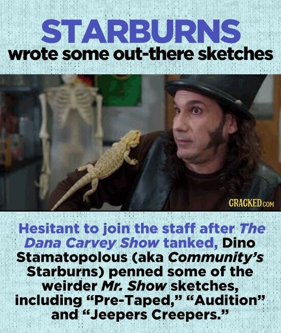 STARBURNS wrote some out-there sketches Hesitant to join the staff after The Dana Carvey Show tanked, Dino Stamatopolous (aka Community's Starburns) penned some of the weirder Mr. Show sketches, including Pre-Taped, Audition' and Jeepers Creepers.