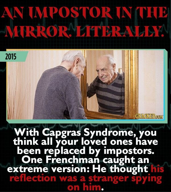 AN IMPOSTOR IN THE MIRROR. LITERALLYA 2015 With Capgras Syndrome, you think all your loved ones have been replaced by impostors. One Frenchman caught an extreme version: He thought his reflection was a stranger spying on him.