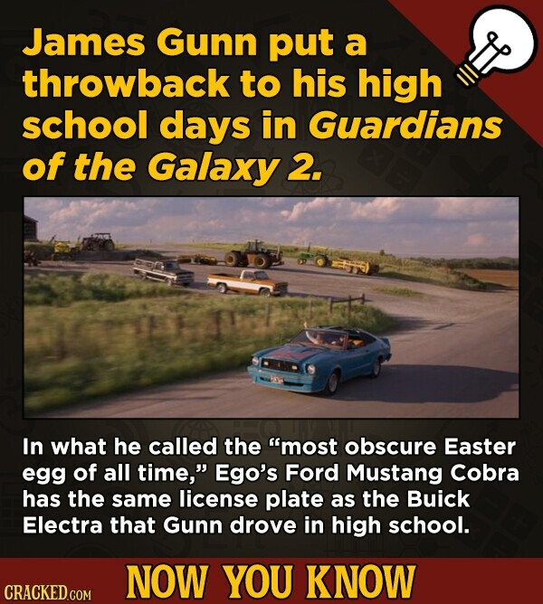 James Gunn put a throwback to his high school days in Guardians of the Galaxy 2. In what he called the most obscure Easter egg of all time, Ego's Fo