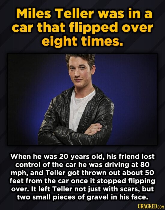 Miles Teller was in a car that flipped over eight times. When he was 20 years old, his friend lost control of the car he was driving at 80 mph, and Te