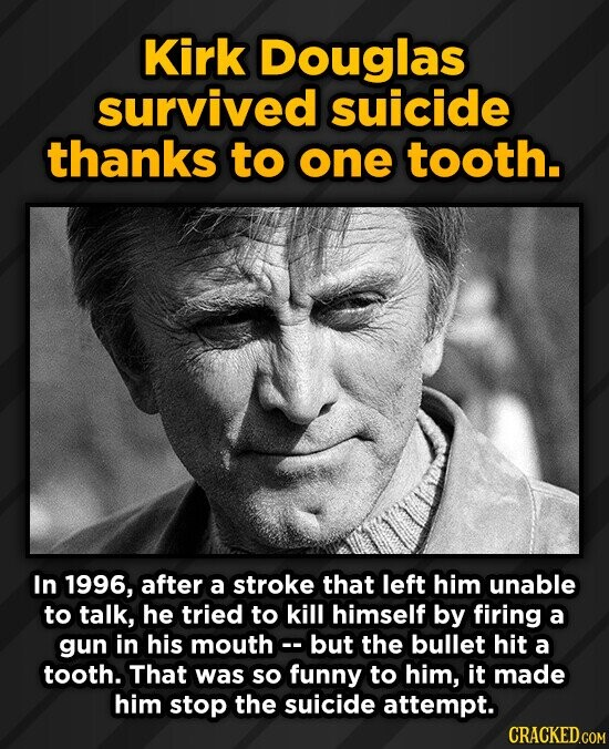 Kirk Douglas survived suicide thanks to one tooth. In 1996, after a stroke that left him unable to talk, he tried to kill himself by firing a gun in h
