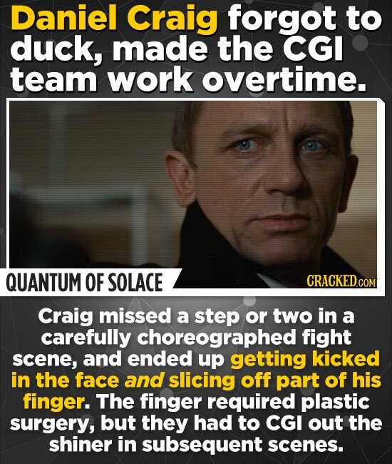 Daniel Craig forgot to duck, made the CGI team work overtime. QUANTUM OF SOLACE CRACKED.COM Craig missed a step or two in a carefully choreographed fight scene, and ended up getting kicked in the face and slicing off part of his finger. The finger required plastic surgery, but they had