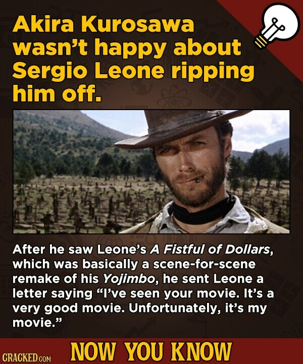 Akira Kurosawa wasn't happy about Sergio Leone ripping him off. After he saw Leone's A Fistful of Dollars, which was basically a scene-for-scene remak