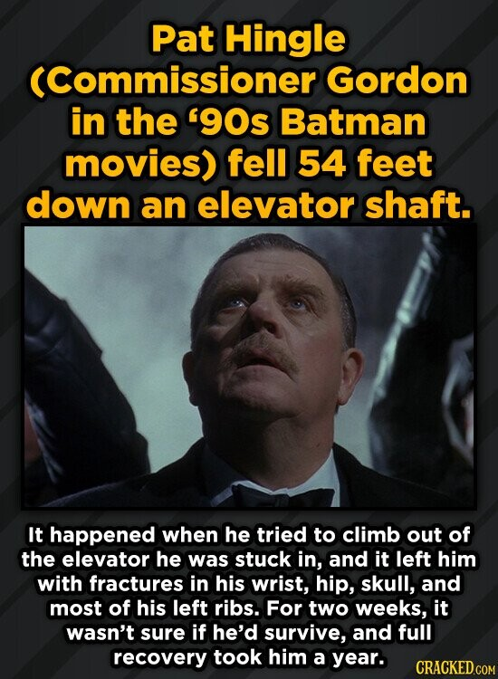 Pat Hingle (Commissioner Gordon in the 90s Batman movies) fell 54 feet down an elevator shaft. It happened when he tried to climb out of the elevator