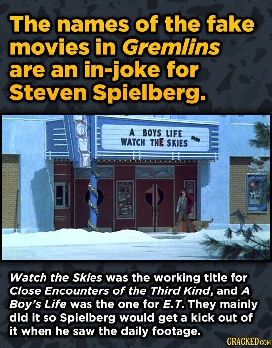 The names of the fake movies in Gremlins are an in-joke for Steven Spielberg. A BOYS LIFE WATCH THE SKIES Watch the Skies was the working title for Cl