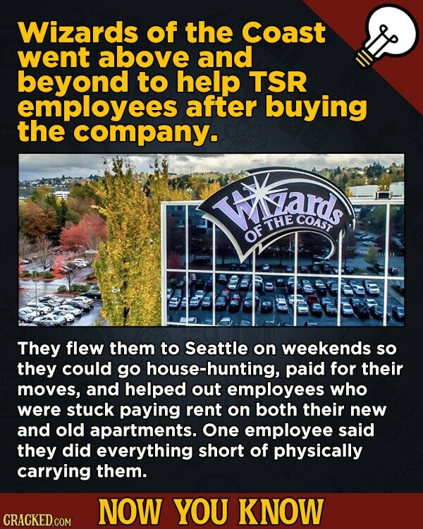 Wizards of the Coast went above and beyond to help TSR employees after buying the company. FA ds COAST THE OF They flew them to Seattle on weekends so