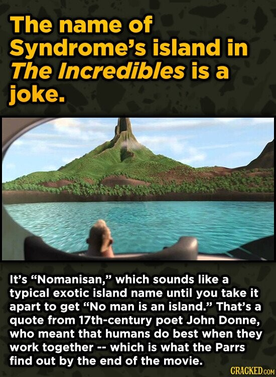 The name of Syndrome's island in The Incredibles is a joke. It's Nomanisan, which sounds like a typical exotic island name until you take it apart t
