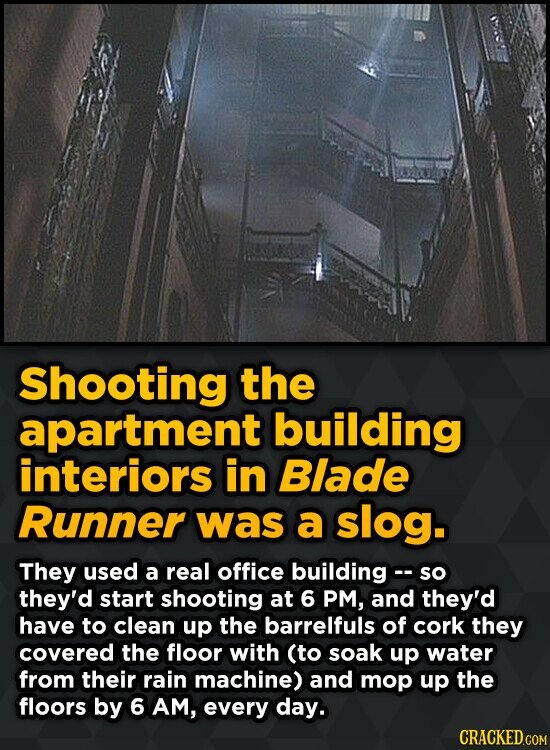 Shooting the apartment building interiors in Blade Runner was a slog. They used a real office building- so they'd start shooting at 6 PM, and they'd h