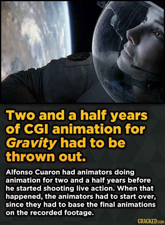 Two and a half years of CGI animation for Gravity had to be thrown out. Alfonso Cuaron had animators doing animation for two and a half years before h