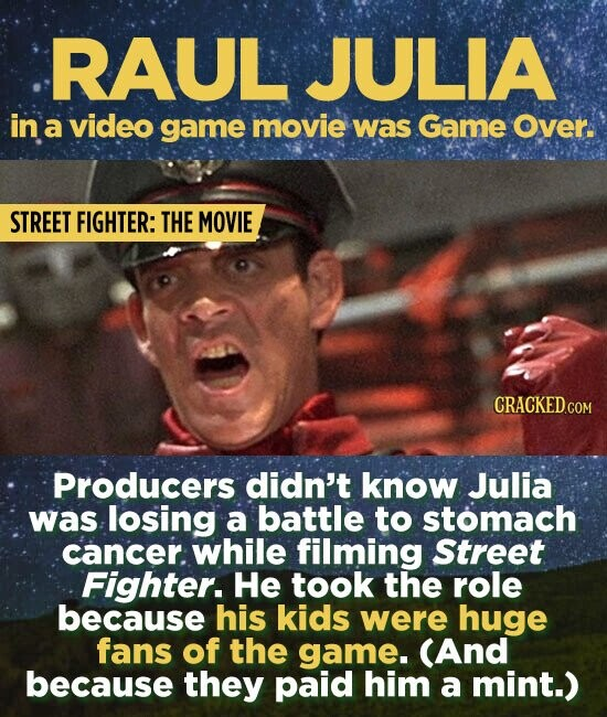RAUL JULIA in a video game movie was Game Over. STREET FIGHTER: THE MOVIE Producers didn't know Julia was losing a battle to stomach cancer. while filming Street Fighter. He took the role because his kids were huge fans of the game. (And because they paid him a mint.)