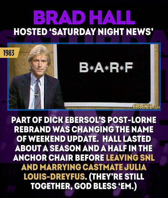 BRAD HALL HOSTED 'SATURDAY NIGHT NEWS' 1983 B*A*R* F PART OF DICK EBERSOL'S POST-LORNE REBRAND WAS CHANGING THE NAME OF WEEKEND UPDATE. HALL LASTED ABOUT A SEASON AND A HALF IN THE ANCHOR CHAIR BEFORE LEAVING SNL AND MARRYING CASTMATE JULIA OUIS-DREYFUS. (THEY'RE STILL TOGETHER, GOD BLESS 'EM.)