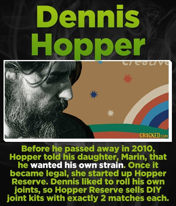 Dennis Hopper CRACKED CON Before he pasSEd away in 2010, Hopper told his daughter, Marin, that he wanted his own strain. Once it became legal, she started up Hopper Reserve. Dennis liked to roll his own joints, so Hopper Reserve sells DIY joint kits with exactly 2 matches each.