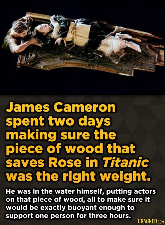 James Cameron spent two days making sure the piece of wood that saves Rose in Titanic was the right weight. He was in the water himself, putting actor