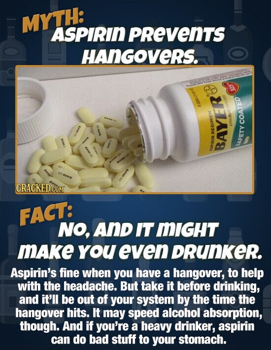 MYTH: ASPIRIN PRevenTS HANGOVERS. SOEY COATED AER  REGIMEN SAFETY ASPIRIN BAYER CRACKEDCO coMT FACT: NO, AnD IT 'MIGHT MAke yoU even DRunKer. Aspirin's fine when you have a hangover, to help with the headache. But take it before drinking, and it'll be out of YOur system by the time the