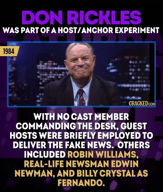 DON RICKLES WAS PART OF A HOSTANCHOR EXPERIMENT 1984 CRACKED WITH NO CAST MEMBER COMMANDING THE DESK, GUEST HOSTS WERE BRIEFLY EMPLOYED TO DELIVER THE FAKE NEWS. OTHERS INCLUDED ROBIN WILLIAMS, REAL-LIFE NEWSMAN EDWIN NEWMAN, AND BILLY CRYSTALAS FERNANDO.
