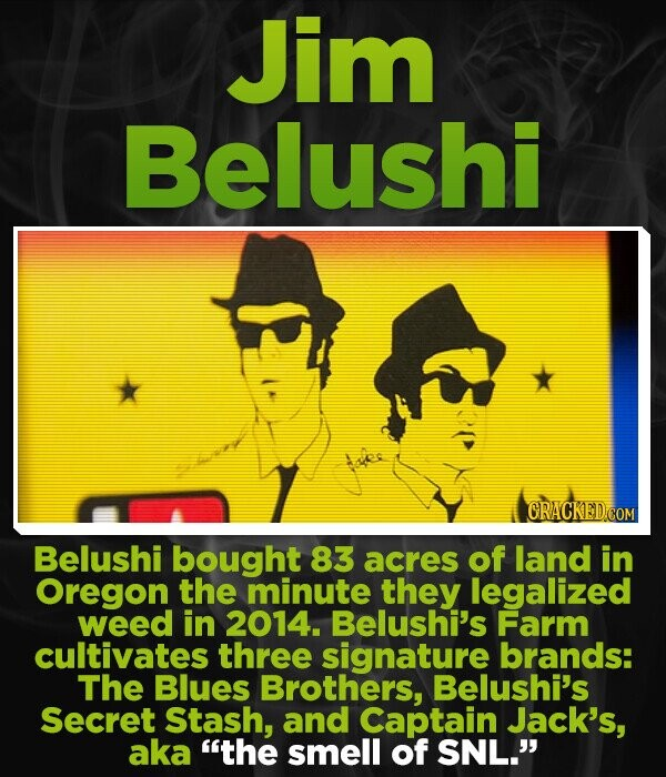 Jim Belushi Belushi bought 83 acres of land in Oregon the minute they legalized weed in 2014. Belushi's Farm cultivates three signature brands: The Blues Brothers, Belushi's Secret Stash, and Captain Jack's, aka the smell of SNL.