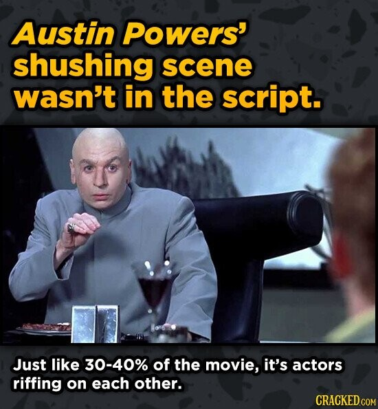 Austin Powers' shushing scene wasn't in the script. Just like 30-40% of the movie, it's actors riffing on each other.