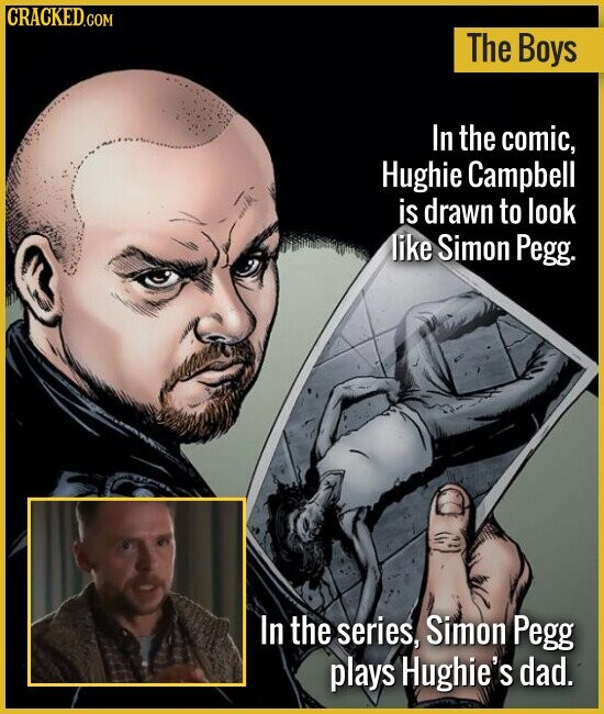 The Boys In the comic, Hughie Campbell is drawn to look like Simon Pegg. In the series, Simon Pegg plays Hughie's dad.