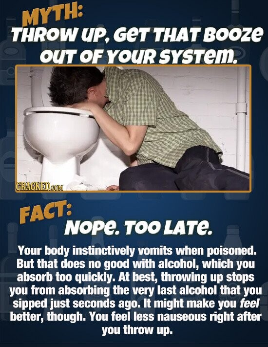 MYTH: THROW UP, GET THAT BOOZE OUT OF YOUR sysTem. CRACKEDOON FACT: NoPe. TOO LATe. Your body instinctively vomits when poisoned. But that does no good with alcohol, which you absorb too quickly. At best, throwing up stops you from absorbing the very last alcohol that you sipped just seconds