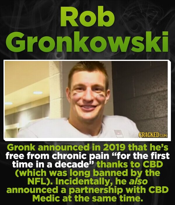 Rob Gronkowski CRACKEDC Gronk announced in 2019 that he's free from chronic pain for the first time in a decade thanks to CBD (which was long banned by the NFL). Incidentally, he also announced a partnership with CBD Medic at the same time.