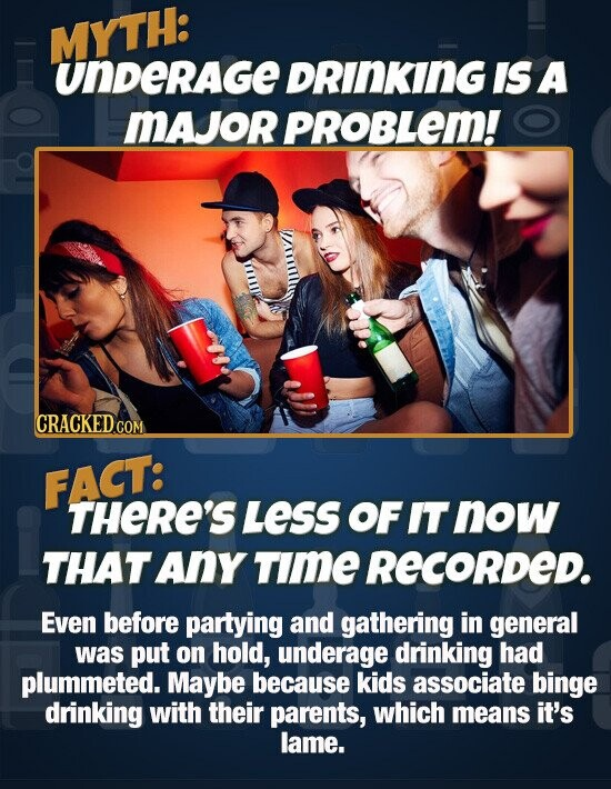 MYTH: unDerage DRINKING IS A MAJOR PROBLEM! CRACKED.COM FACT: THERE'S LEsS OF IT now THAT Any Time RECORDED. Even before partying and gathering in general was put on hold, underage drinking had plummeted. Maybe because kids associate binge drinking with their parents, which means it's lame.