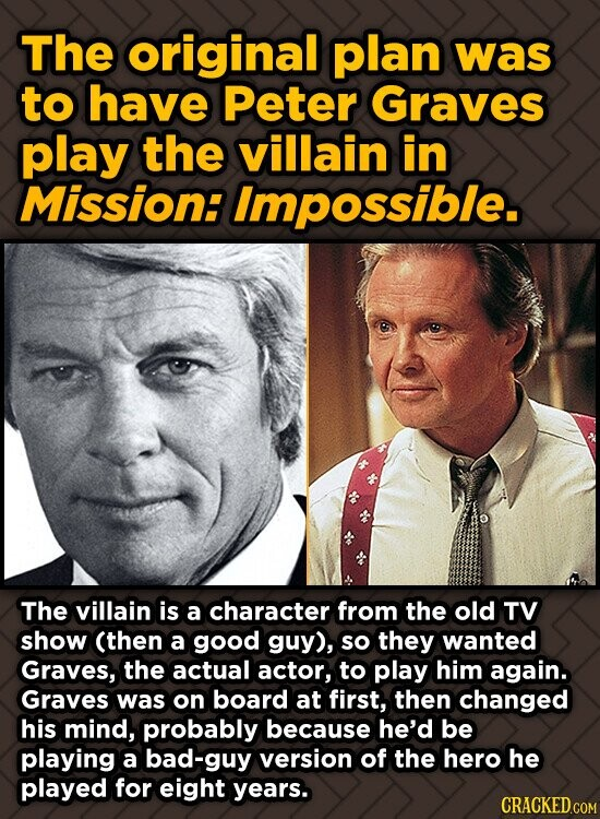The original plan was to have Peter Graves play the villain in Mission: Impossible. The villain is a character from the old TV show (then a good guy),