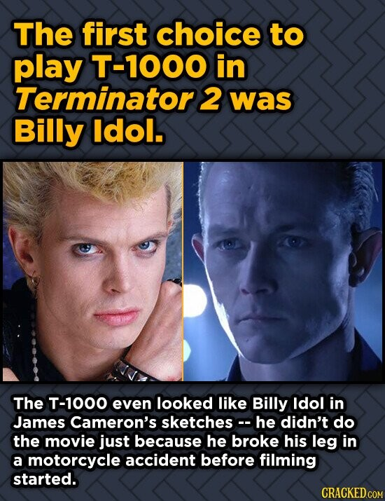 The first choice to play T-1000 in Terminators 2 was Billy ldol. The T-1000 even looked like Billy ldol in James Cameron's sketches he didn't do the m