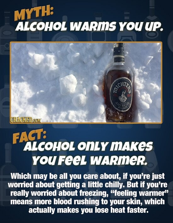 MYTH: ALCOHOL WARmS yoU UP. ACHTEO IMERICAE FACT: ALCOHOL OnLY MAkes YouFeeL WARmER. Which may be all you care about, if you're just worried about getting a little chilly. But if you're really worried about freezing, feeling warmer means more blood rushing to your skin, which actually makes you
