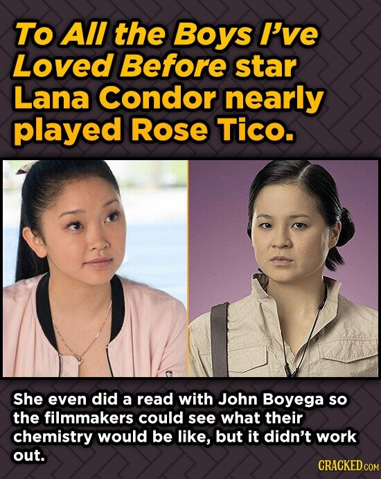 To AlI the Boys I've Loved Before star Lana Condor nearly played Rose TICO. She even did a read with John Boyega so the filmmakers could see what thei