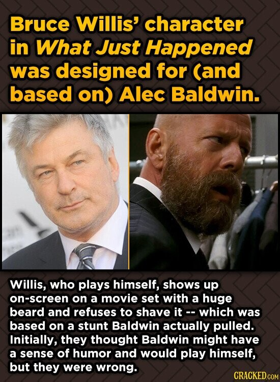 Bruce Willis' character in What Just Happened was designed for (and based on) Alec Baldwin. Willis, who plays himself, shows up on-screen on a movie s