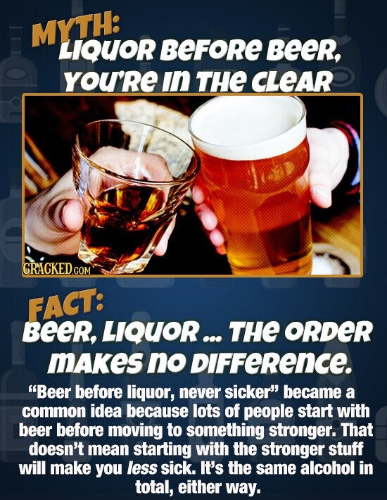 MYTH: LIQUOR BEFORE Beer, YOU'RE in THE CLEAR CRACKED.COM FACT: Beer, LIQUOR ... THE ORDER MAkes no DIFFeRence. Beer before liquor, never sicker' became a common idea because lots of people start with beer before moving to something stronger. That doesn't mean starting with the stronger stuff will make you less