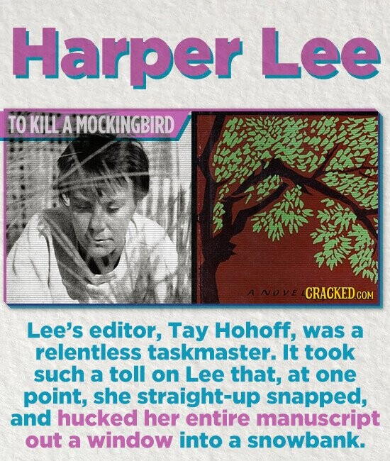 Harper Lee TO KILL A MOCKINGBIRD A NOVE Lee's editor, Tay Hohoff, was a relentless taskmaster. It took such a toll on Lee that, at one point, she straight-up snapped, and hucked her entire manuscript out a window into a snowbank.