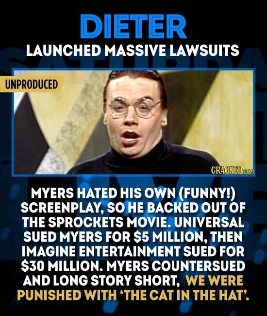 DIETER LAUNCHED MASSIVE LAWSUITS UNPRODUCED CRAGKEDCOM MYERS HATED HIS OWN (FUNNY!) SCREENPLAY, SO HE BACKED OUT OF THE SPROCKETS MOVIE. UNIVERSAL SUED MYERS FOR $5 MILLION, THEN IMAGINE ENTERTAINMENT SUED FOR $30 MILLION. MYERS COUNTERSUED AND LONG STORY SHORT, WE WERE PUNISHED WITH 'THE CAT IN THE HAT'.