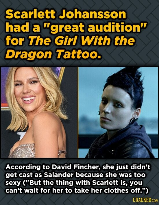 Scarlett Johansson had a great audition' for The Girl With the Dragon Tattoo. 1600 According to David Fincher, she just didn't get cast as Salander b