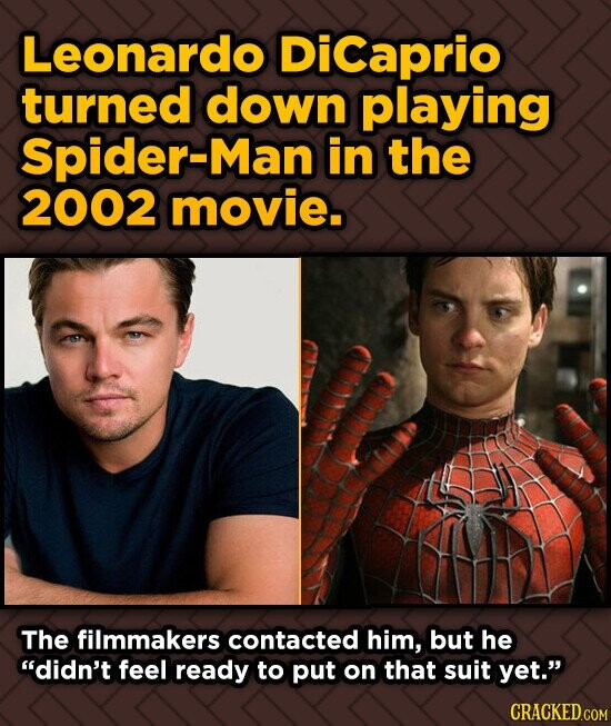 Leonardo DiCaprio turned down playing Spider-Man in the 2002 movie. The filmmakers contacted him, but he didn't feel ready to put on that suit yet.
