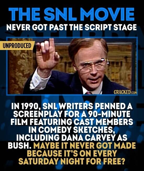 THE SNLMOVIE NEVER GOT PAST THE SCRIPT STAGE UNPRODUCED IN 1990, SNL WRITERS PENNED A SCREENPLAY FOR A 90-MINUTE FILM FEATURING CAST MEMBERS IN COMEDY SKETCHES, INCLUDING DANA CARVEY AS BUSH. MAYBE IT NEVER GOT MADE BECAUSE IT'S ON EVERY SATURDAY NIGHT FOR FREE?