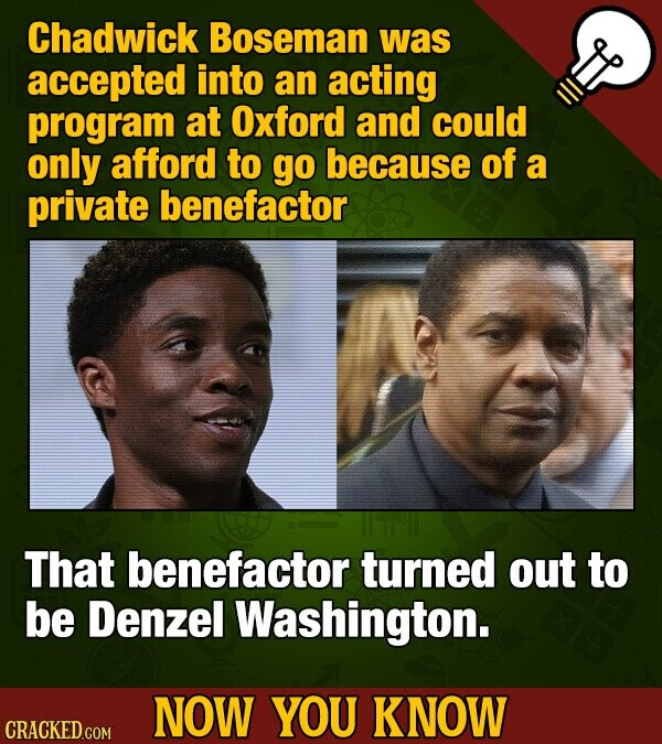 Chadwick Boseman was accepted into an acting program at Oxford and could only afford to go because of a private benefactor That benefactor turned out