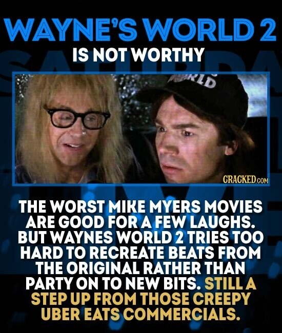 WAYNE'S WORLD 2 IS NOT WORTHY THE WORST MIKE MYERS MOVIES ARE GOOD FOR A FEW LAUGHS. BUT WAYNES WORLD 2 TRIES TOO HARD TO RECREATE BEATS FROM THE ORIGINAL RATHER THAN PARTY ON TO NEW BITS. STILL A STEP UP FROM THOSE CREEPY UBER EATS COMMERCIALS.