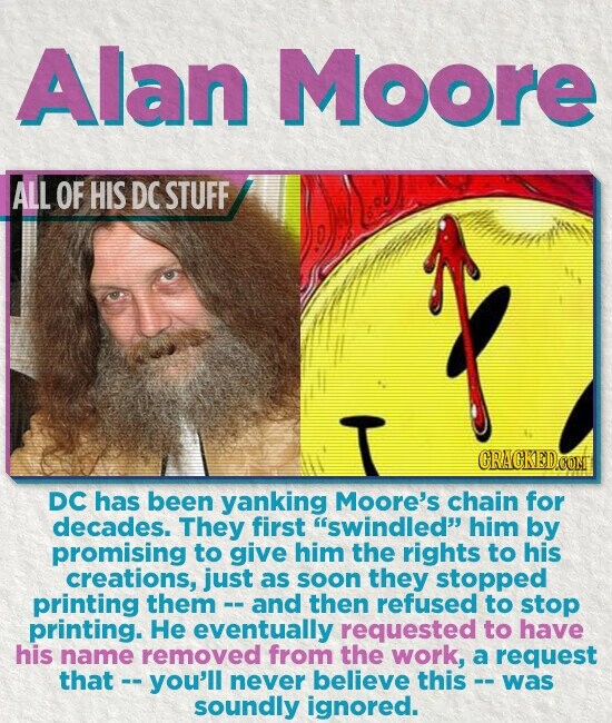 Alan Moore ALL OF HIS DC STUFF CRACKED.COM DC has been yanking Moore's chain for decades. They first swindled him by promising to give him the rights to his creations, just as soon they stopped printing them and then refused to stop printing. He eventually requested to have his name