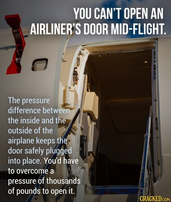 YOU CAN'T OPEN AN AIRLINER'S DOOR MID-FLIGHT. The pressure difference between the inside and the outside of the airplane keeps the door safely plugged into place. You'd have to overcome a pressure of thousands of pounds to open it.