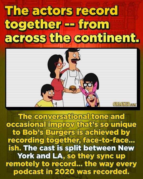 The actors record together from across the continent. The conversational tone and occasional improv that's SO unique to Bob's Burgers is achieved by recording together, face-to-face... ish. The cast is split between New York and LA, sO they sync up remotely to record... the way every podcast in