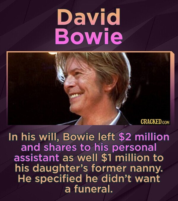 David Bowie In his will, Bowie left $2 million and shares to his personal assistant as well $1 million to his daughter's former nanny. He specified he didn't want a funeral.