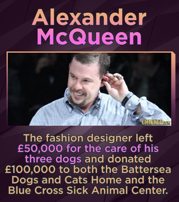Alexander McQueen CRACKED CON The fashion designer left 50,000 for the care of his three dogs and donated f100,00 to both the Battersea Dogs and Cats Home and the Blue Cross Sick Animal Center.