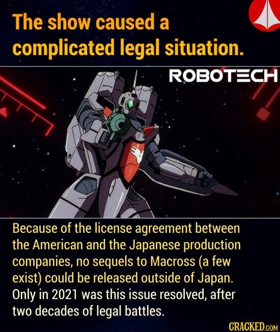 The show caused a complicated legal situation. Because of the license agreement between the American and the Japanese production companies, no sequels to Macross (a few exist) could be released outside of Japan. Only in 2021 was this issue resolved, after two decades of legal battles.