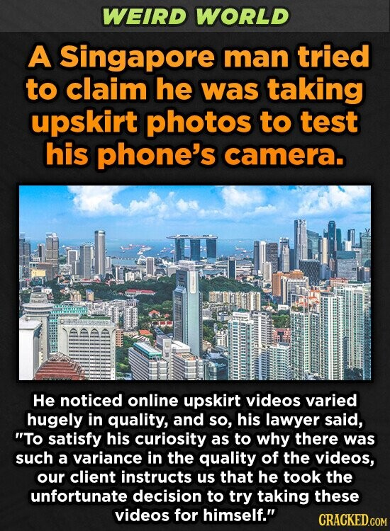 WEIRD WORLD A Singapore man tried to claim he was taking upskirt photos to test his phone's camera. He noticed online upskirt videos varied hugely in quality, and so, his lawyer said, To satisfy his curiosity as to why there was such a variance in the quality of the videos,