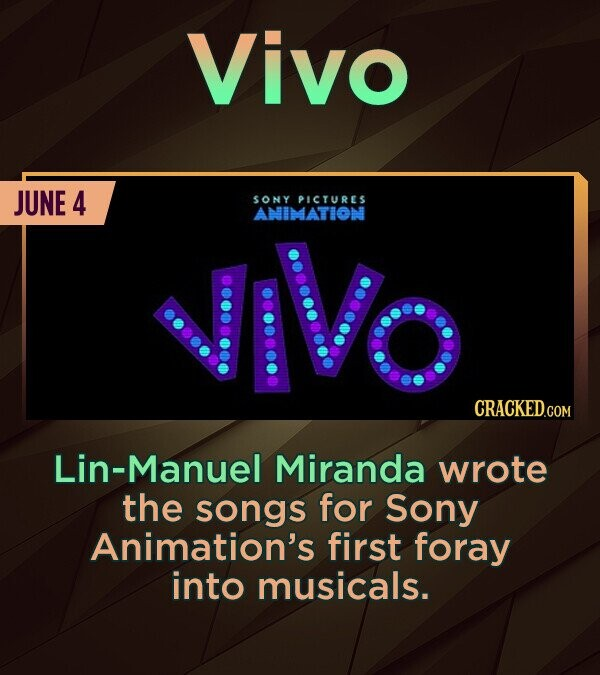 Vivo JUNE 4 SONY PIcrREs JIVO ANIMATION Lin-Manuel Miranda wrote the songs for Sony Animation's first foray into musicals.