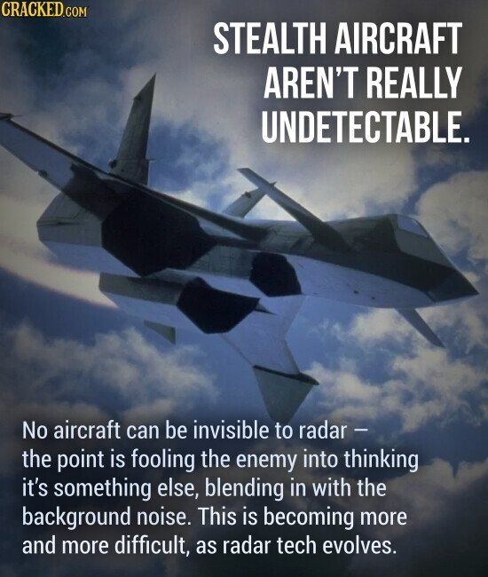 STEALTH AIRCRAFT AREN'T REALLY UNDETECTABLE. No aircraft can be invisible to radar - the point is fooling the enemy into thinking it's something else, blending in with the background noise. This is becoming more and more difficult, as radar tech evolves.