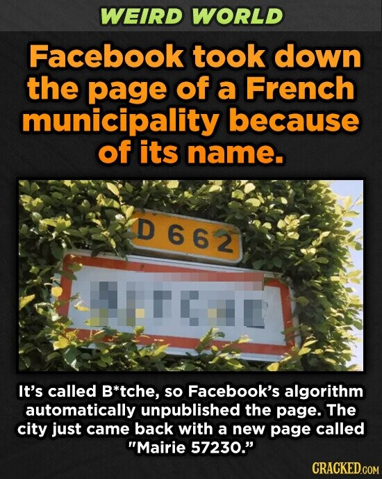 WEIRD WORLD Facebook took down the page of a French municipality because of its name. D662 It's called B*tche, so Facebook's algorithm automatically unpublished the page. The city just came back with a new page called Mairie 57230. CRACKED.COM